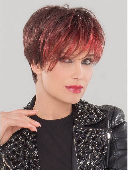 Monofilament 4 inch Straight Red Boycuts Synthetic Wig