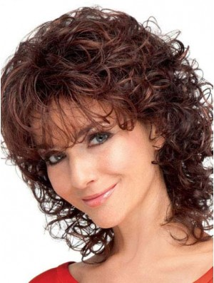 Curly Synthetic Hair With Bangs Auburn Color Shoulder Length