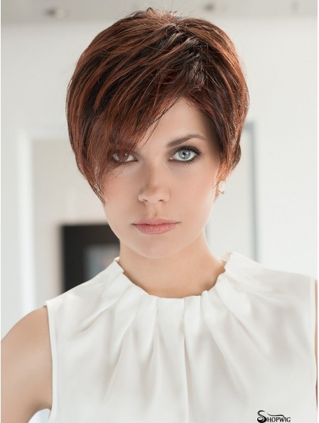 100% Hand-tied 4 inch Straight Auburn Boycuts Synthetic Ladies Wigs