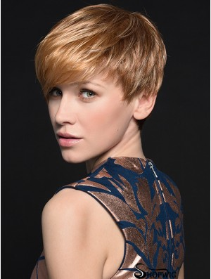 Gorgeous 4 inch Straight Blonde Boycuts Short Wigs