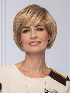 With Bangs Blonde Straight 8 inch Capless Wig
