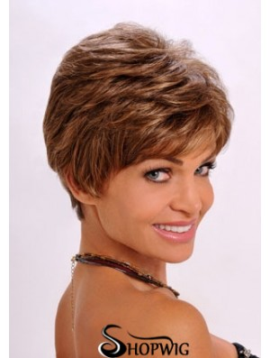 Synthetic Hair Wavy Style Auburn Color Cropped Length