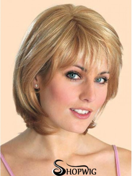 Cheap Synthetic Lace Front Wigs Straight Style Blonde Color Chin Length