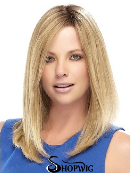 Straight Medium Length Synthetic Wig With Lace Front Shoulder Length