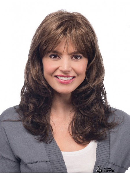 Synthetic Wave With Bangs Long Length Brown Color Wavy Style