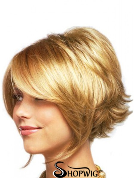 Sleek Blonde Chin Length Wavy Layered Lace Front Wigs