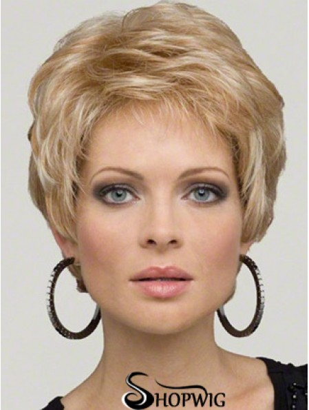 Lace Wig Synthetic Hair Boycuts Short Length Wavy Style Blonde Color