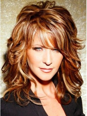 Copper Shoulder Length Curly With Bangs 15 inch Top Medium Joy Behar Wigs