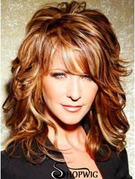 Copper Shoulder Length Curly With Bangs 15 inch Top Medium Joy Behar Wigs