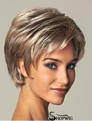 Short Ladies Synthetic Wig With Lace Front Straight Style Layered Cut