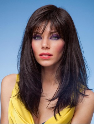 Long Black Synthetic Wigs With Bangs Monofilament Straight Style