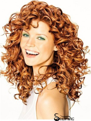 Copper Shoulder Length Curly Without Bangs 16 inch Hairstyles Medium Wigs