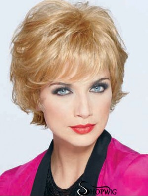Best Blonde Short Wavy Classic Monofilament Wigs