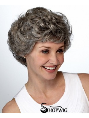Synthetic Short Curly Lace Front Elderly Lady Wigs