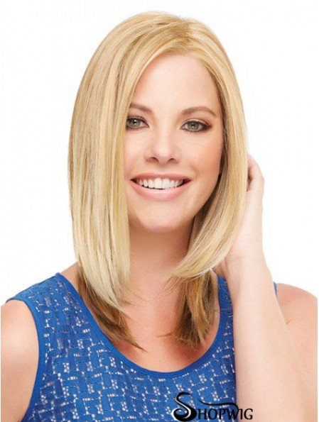Straight Without Bangs Shoulder Length Blonde Perfect Lace Front Wigs