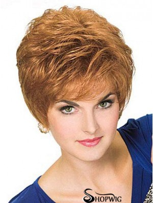 Cropped Straight Boycuts Blonde Style 100% Hand-tied Wigs