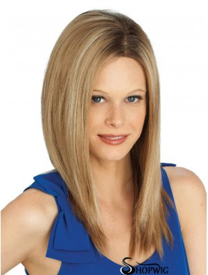 Blonde Straight Long Without Bangs Lace Front Cheap Ladies Wigs
