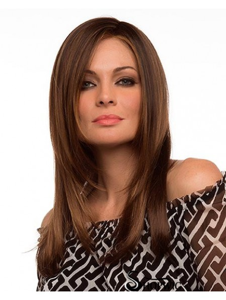 Straight Without Bangs Lace Front Cheap 20 inch Brown Long Wigs