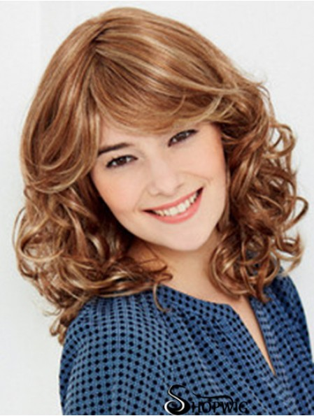 100% Hand Tied Shoulder Blonde Wavy With Bangs Short Synthetic Shaggy Wigs