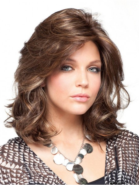 Curly Brown Gorgeous Shoulder Length Classic Wigs
