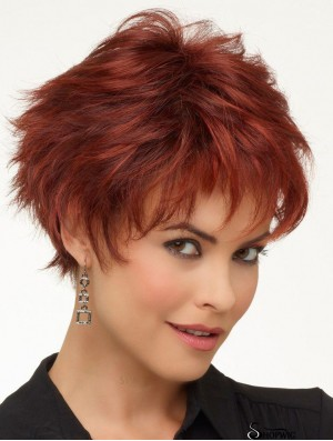 Red Short Wayy Boycuts Natural Looking Synthetic Lace Front Wigs