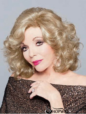 Synthetic Chin Length Curly 100% Hand-tied Elderly Lady Wigs