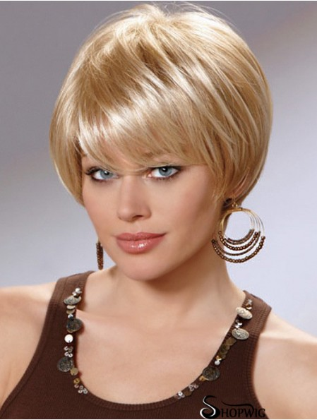 Straight Layered 8 inch Blonde Stylish Synthetic Wigs
