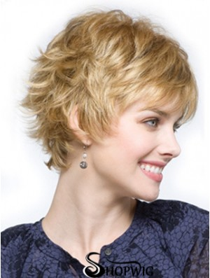 Cropped Layered Wavy Blonde Comfortable Synthetic Wigs