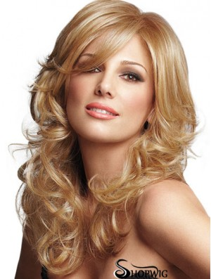 Curly With Bangs Long Blonde Sleek Lace Front Wigs
