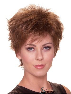Straight Boycuts 6 inch Auburn Perfect Synthetic Wigs