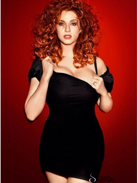 16 inch Curly Without Bangs Lace Front Copper Flexibility Long Christina Hendricks Wigs