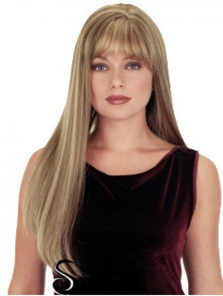 Straight With Bangs 26 inch Blonde Suitable Synthetic Wigs