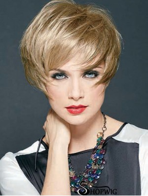 Straight Layered Cropped Discount Blonde Synthetic Wigs