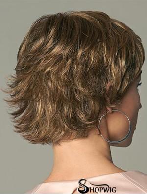 Beautiful 4 inch Wavy Brown Layered Short Wigs