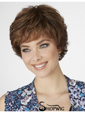 Curly Layered Short Designed Brown Synthetic Wigs