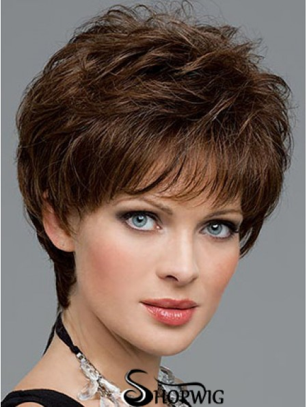 Cutting A Synthetic Wig Boycuts Cropped Length Brown Color