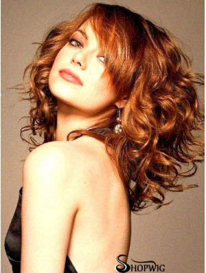 16 inch Wavy Without Bangs Lace Front Copper Sleek Long Emma Stone Wigs