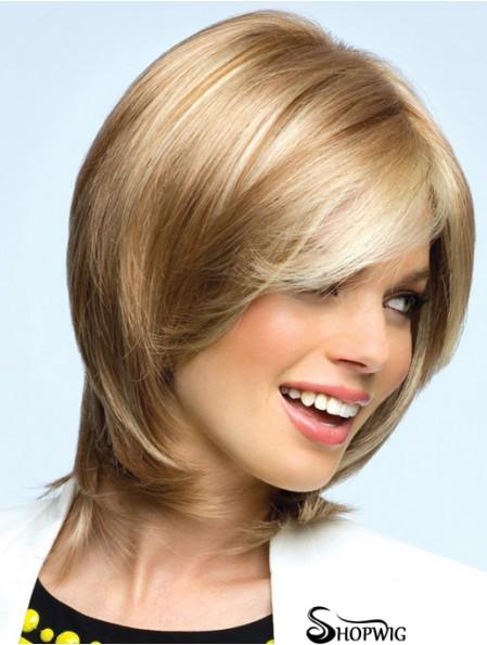 Blonde Chin Length Wavy Layered 12 inch Top Medium Wigs