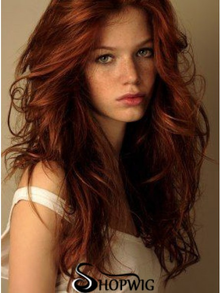 20 inch Wavy Without Bangs Lace Front Copper Cheap Long Wigs