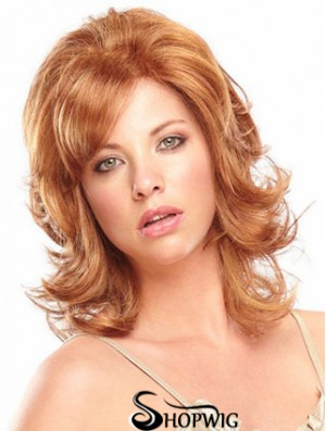Synthetic Shoulder Length Wavy Capless Elderly Lady Wigs