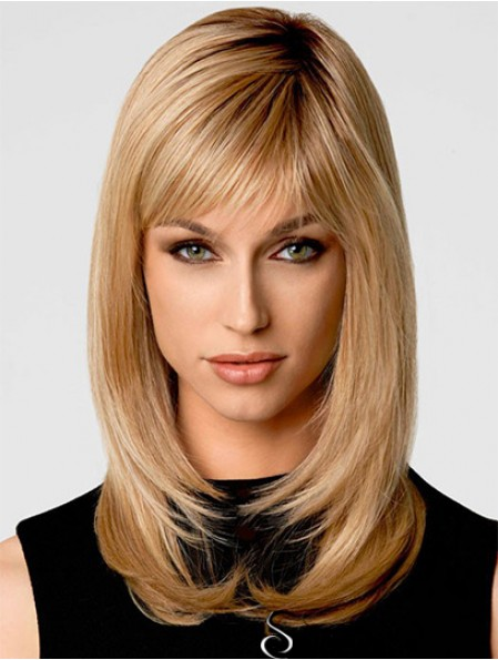 Blonde Shoulder Length Wavy Layered 14 inch Online Medium Wigs