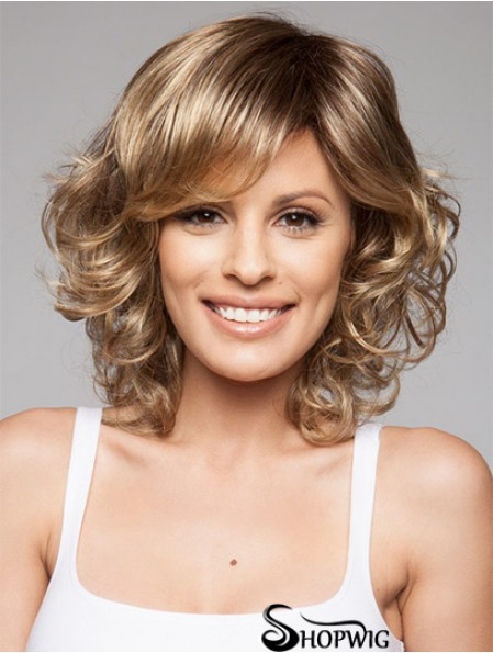 Fabulous Brown Chin Length Layered Curly Glueless Lace Front Wigs