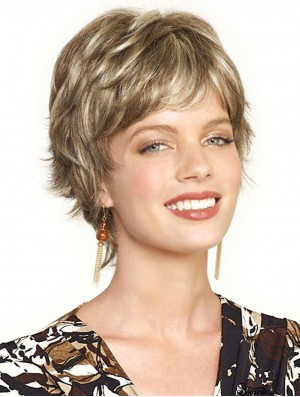 Incredible Blonde Cropped Wavy Boycuts Lace Front Wigs