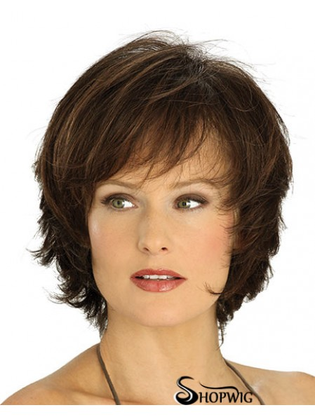 Amazing Brown Chin Length Straight Layered Lace Front Wigs