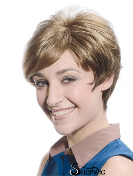 Soft Brown Short Boycuts Straight Glueless Lace Front Wigs
