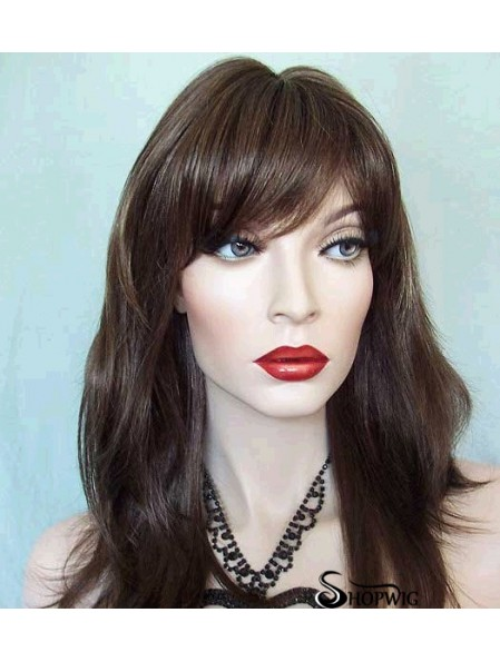 Straight With Bangs Long Brown Trendy Lace Front Wigs