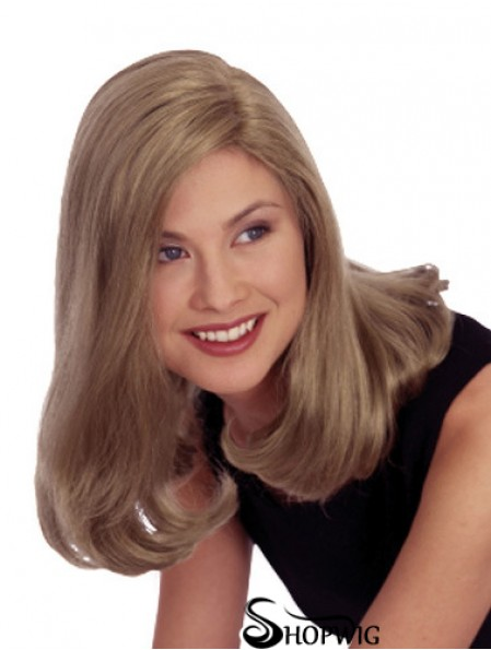 Straight Without Bangs 16 inch Blonde Cheapest Synthetic Wigs