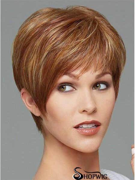 Cropped Boycuts Straight Brown Stylish Synthetic Wigs