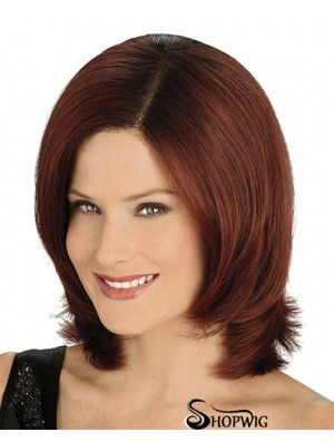 Convenient Auburn Chin Length Straight Without Bangs Lace Front Wigs