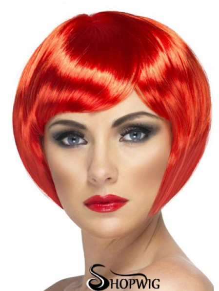 Sassy 8 inch Straight Red Bobs Short Wigs